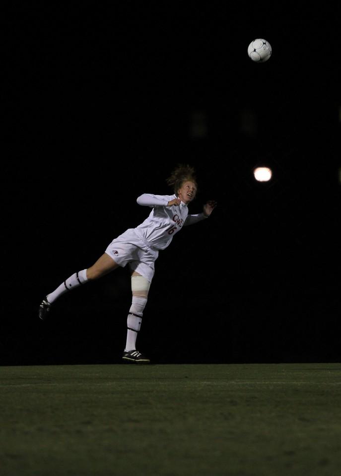 Stephanie Benshoof, 16, watches the ball after a head-butt.