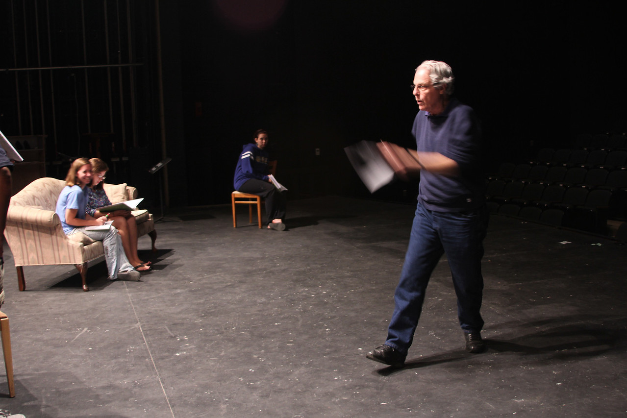 Guest director William Martin works with students on the GWU production of Is He Dead by Mark Twain.