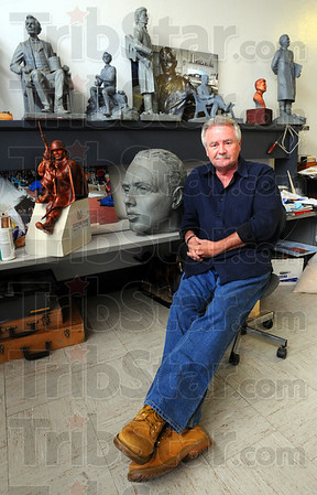 Tribune-Star/Jim Avelis<br /> New project: Sculptor Bill Wolfe will create the bear for the Schulte marker to be placed in front of Corporate Square, the old high school.