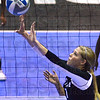 Tribune-Star/Jim Avelis<br /> All set: Indiana State University's Shelby Fouty sets for a teammate.