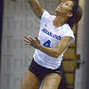 Tribune-Star/Jim Avelis<br /> Striking success: Kiya James serves to Savannah State Saturday afternoon in their match.