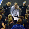 Tribune-Star/Jim Avelis<br /> Leader: Indiana State University head volleyball coach Traci Dahl talks with her team before their match with Savannah State Saturday afternoon.