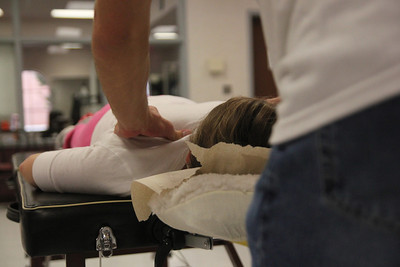 GWU staff and students receive massages on National Women's Health and Fitness Day.