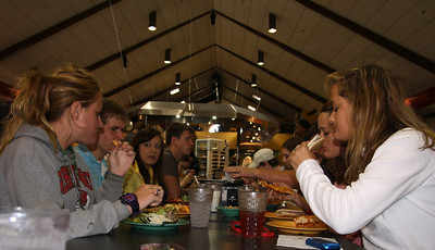 Students talk over lunch in the Dover Campus Center.