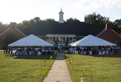 A wedding reception held in from of O. Max Gardner Hall