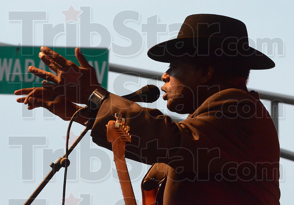 Tribune-Star/Jim Avelis<br /> Just for starters: Governor Davis and the Blues Ambassadors started this year's Blues at the Crossroads music festival.
