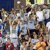 Tribune-Star/Jim Avelis<br /> Go Knights: The Northview crowd reacts to a Knight touchdown.