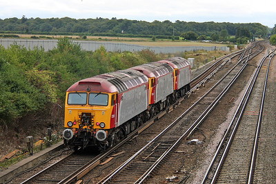 57310 Worting Junction 09/09/11 on the rear of 0O57 Wembley to Eastleigh with 57306 and 57312