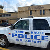 Airport security: A police vehicle sits at the entrance to the Terre Haute International Airport Hulman Field Tuesday afternoon.