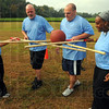 Tribune-Star/Jim Avelis<br /> Teamwork: The team from Kellog's Snacks move their  way to the finish line in the Balance Ball Challenge at the Corporate Olympics. Team members are Lorene Turner, Steve Judd, Andrew Powell and Elanda Watkins.