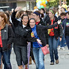 Happy walkers: Autism Walk participants Eva Kahn and Ciara Hall show enthusiasm for the Saturday morning event.