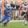Tribune-Star/Rachel Keyes<br /> Moving the ball: Indiana State's Shakir Bell rushes for yards against Youngstown Saturday.