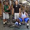 Tribune-Star/Jim Avelis<br /> Newbies: Starting their first year with the Indiana State University men's basketball team are Devonte Brown, Brandon Burnett and Manny Arop.