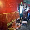 Busted: The wall of Troy Bowden's pizza restaurant is heavily damaged after being struck by a vehicle.