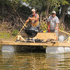 Tribune-Star/Jim Avelis<br /> River wise: With John Cornell and Jim Foster on the oars, the Lafayette based rafters use the faster current on the outside of a river bend to help their down-river progress.