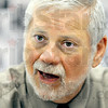 Author interview: Edwin Black talks with Tribune-Star reporter Arthur Foulkes at the CANDLES Museum Wednesday morning.