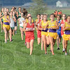 Tribune-Star/Jim Avelis<br /> Out front: St. Patrick's Lindsay Welker leads the pack down teh straightaway at the beginning of the girl's middle school Cross Country race.