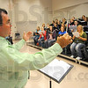Tribune-Star/Jim Avelis<br /> Preparation: Scot Buchanan leads his Indiana State University Choir in practice Wednesday afternoon.