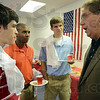 Tribune-Star/Jim Avelis<br /> Youth movement: Rose-Hulman students Jason Latimer, Vernon Edwards and Aaron Joss talk with Terre Haute mayor Duke Bennett at the opening of his campaign headquarters.