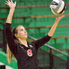 Fingertip control: South's 38, Brittney Pink serves to West Vigo during Monday's match at the westside school.