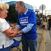 Tribune-Star/Jim Avelis<br /> Pesonal touch: Parade watcher Mary Young chats with Democrat mayoral candidate Fred Nation during the Labor Day parade.