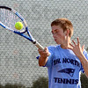 Tribune-Star/Jim Avelis<br /> Second court: Tate Egan plays #2 singles for Terre Haute North.