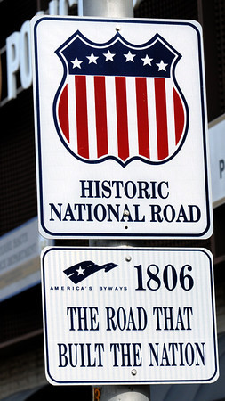 National detail: Sign on Wabash Avenue designating it as the National Road.