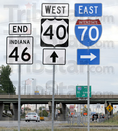 Sign of the times: Highway markers indicate the end of Indiana 46 and the start of West US 40.
