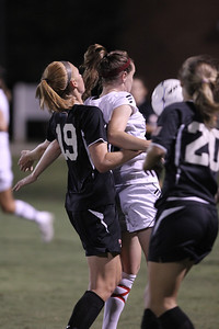 Jessica Casper (19) maintains her defensive position during a throw in.