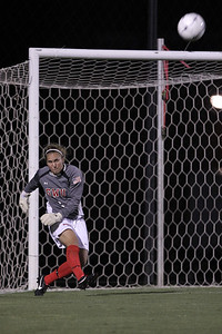 Goalkeeper, Erika Lenns, punts the ball up the field.