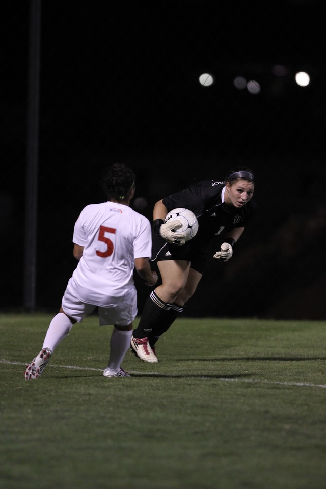 Ele Margelos (5) follows through as Winthrop's goalie picks up the ball.