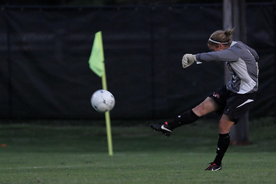Erika Lenns (GK) punts the ball up the field.