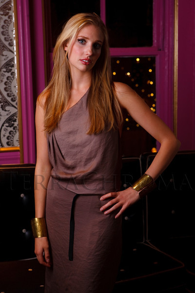 "(Denver, Colorado, Sept. 17, 2011)<br /> Sonja in her first look, a Helmut Lang dress, with makeup and hair by staff of the Oxford Club.  The Eighth Annual Volunteers of America Fashion Show, ""The Sweet Life,"" at Suite Two Hundred in Denver, Colorado, on Saturday, Sept. 17, 2011.<br /> STEVE PETERSON"