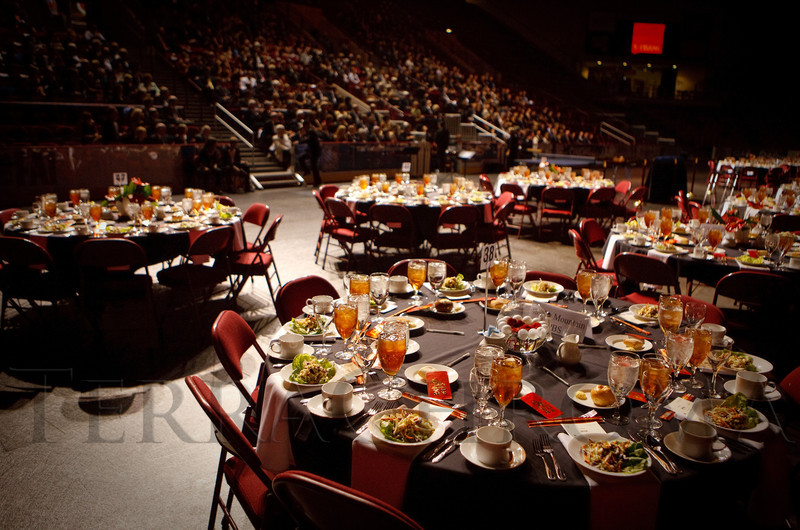 (Denver, Colorado, Sept. 30, 2011)<br /> Guest in the stands during the first part of the program.  The 10th Annual Diplomats Ball: A Celebration of Ping Pong Diplomacy, an annual fundraiser for the Institute of International Education Rocky Mountain Regional Center, at Magness Arena, University of Denver, in Denver, Colorado, on Friday, Sept. 30, 2011.<br /> STEVE PETERSON
