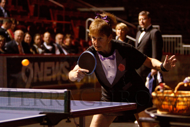 (Denver, Colorado, Sept. 30, 2011)<br /> Emad Hussain and Marilyn Feinstein (picture) provide a table tennis demonstration.  The 10th Annual Diplomats Ball: A Celebration of Ping Pong Diplomacy, an annual fundraiser for the Institute of International Education Rocky Mountain Regional Center, at Magness Arena, University of Denver, in Denver, Colorado, on Friday, Sept. 30, 2011.<br /> STEVE PETERSON