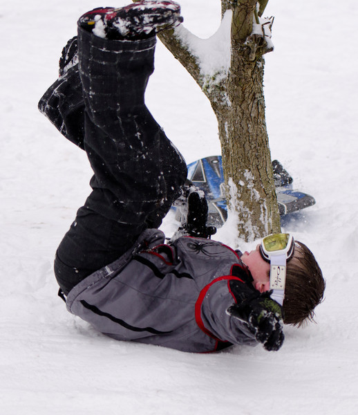 After a bit, our sledder learns he can stack on one side of the tree while his sled goes 'round the other side.