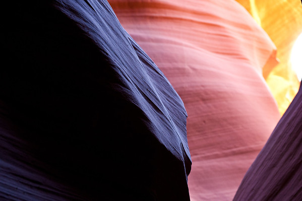 The afternoon light baked the wall of Lower Antelope Canyon in pinks, oranges, purples, and yellows. This was the best light I've seen in here in the 3 times I've been!