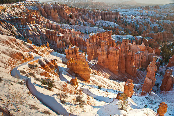 Snow on the hoodoo's at Bryce National Park