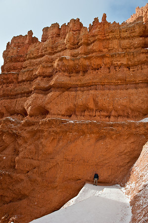 The canyon at Bryce gets pretty deep. We started doing the hike into the canyon. Here you can see Andy relative to how deep it gets