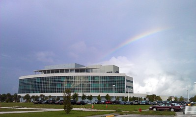 A rainbow over the Operations Support Building