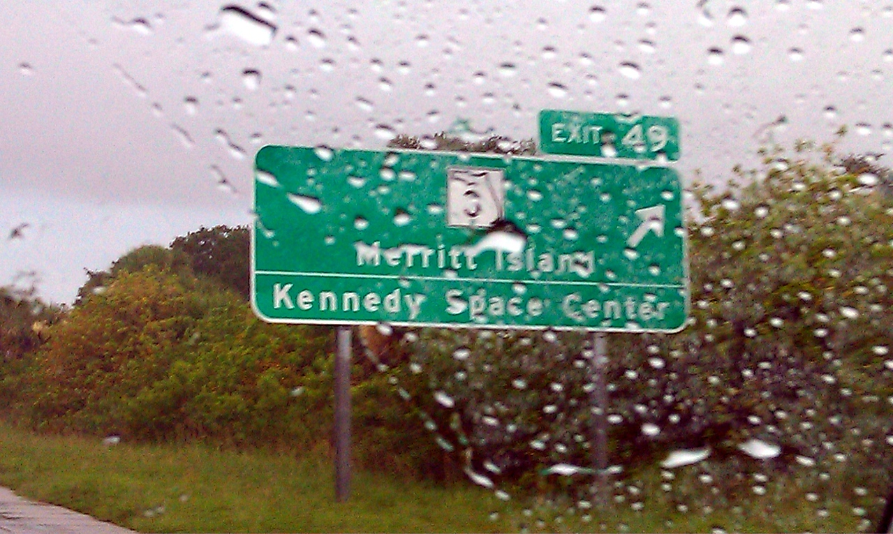 A very rainy start to the Tweetup -- exit sign for Merritt Island and the Kennedy Space Center