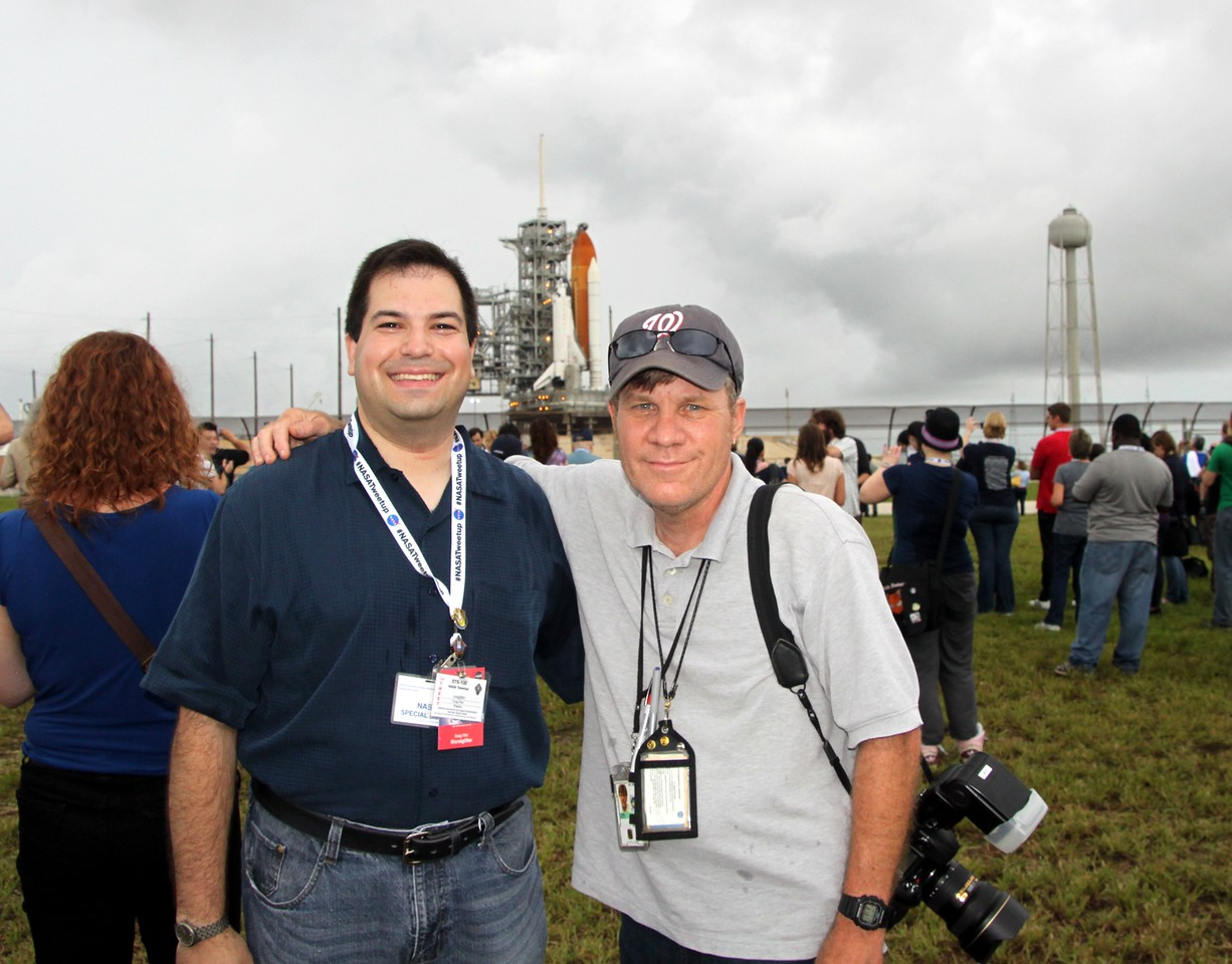 Craig with senior NASA photographer and photo editor Paul Alers, with Space Shuttle Atlantis on Launch Pad 39-A