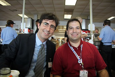 Craig with correspondent John Oliver, the morning of his report on the launch for The Daily Show