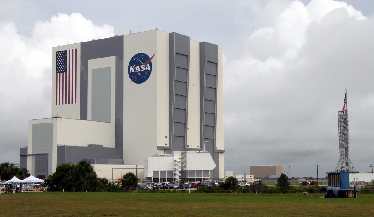 The Vehicle Assembly Building, Launch Control Center, and Countdown Clock