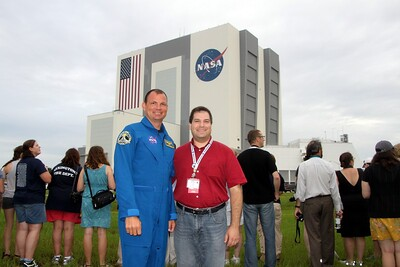 Craig with with astronaut Tony Antonelli, in front of the Vehicle Assembly Building.  I watched Tony's launch on STS-132 in 2010.