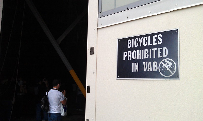Bicycles are prohibited in the Vehicle Assembly Building