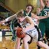 Army Guard Molly Yardley (13) drives to the basket against Manhattan in Christl Arena at the United States Military Academy on Wednesday, November 23, 2011. Army defeated Manhattan 58-43. Hudson Valley Press/CHUCK STEWART, JR.