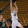 Army Forward Olivia Schretzman (12) puts up two of her eight points against Manhattan in Christl Arena at the United States Military Academy on Wednesday, November 23, 2011. Army defeated Manhattan 58-43. Hudson Valley Press/CHUCK STEWART, JR.