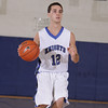 Mount Saint Mary Knight Anthony Cipriano (#12) brings the ball up court against SUNY New Paltz on Tuesday, November 22, 2011 in the Kaplan Center in Newburgh, NY. MSMC defeated SUNY New Paltz, 95-88. Hudson Valley Press/CHUCK STEWART, JR.