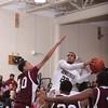 Newburgh Free Academy Goldback Will Williams (23) soars thru the paint against Kingston on Thursday, February 10, 2011 in Newburgh, NY. NFA defeated Kingston 80-64. Hudson Valley Press/CHUCK STEWART, JR.